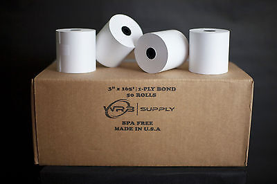 "3"" x 165' 1 Ply Bond paper For Kitchen Printers (50 Rolls)"