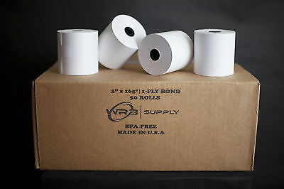 "3"" x 165' Traditional Cash Register POS Paper Roll Tape (50 Rolls)"