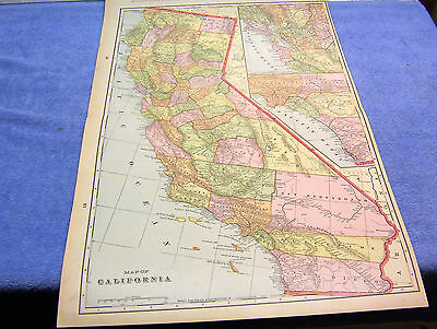 Antique Map Of California W/ Railroads, Angels Camp Large Map 12X18 Inches  1894