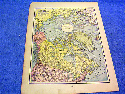 Antique Map Of The Polar Region    From  1899  Beautifully Colored    Look!