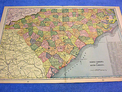 ANTIQUE MAP OF NORTH & SOUTH CAROLINA W/ RRs, BINGHAM SCHOOL, PEACOCK'S STORE