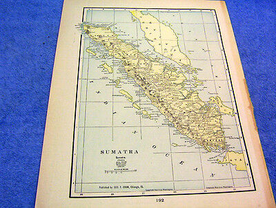 Antique 1901 Map Of Sumatra   114 Years Old  Shows Reefs & Surrounding Islands