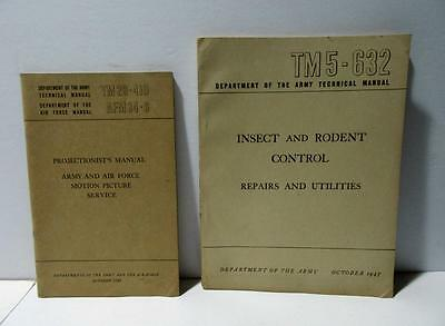 Army Air Force Technical Projectionist & Insect Rodent Control Manuals 1947 1949