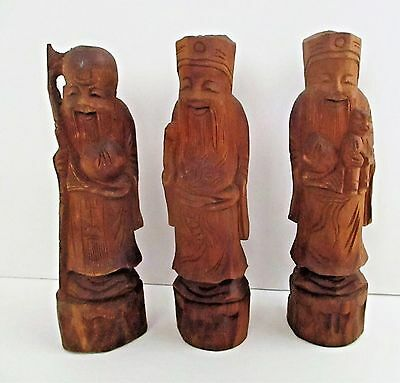 Vintage Chinese Wood Carving Happy Gods Scholars Lucky Immortals 3 Carved Figure