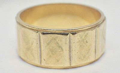 Artcarved 14K Yellow Gold Women's Paneled Ring Band 8MM Wide Size 6 1/2