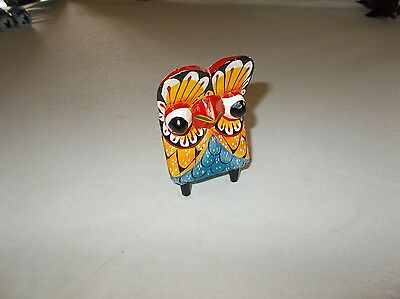 Hand carved and painted primitive wood Mexico made whimsical owl figurine nice