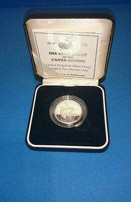 1995 Silver Proof Piedfort Two Pound Coin Anniversary United Nations