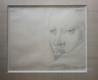 Rare Original George Tooker pencil drawing, Untitled (Portrait of a Woman), 1967