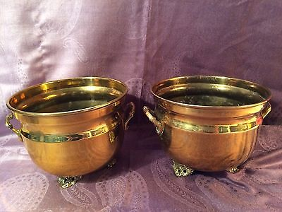 2 X Small Vintage Brass Planters
