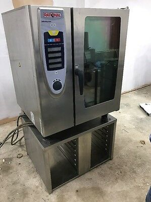 Rational SCC 10 grid, 3 phase electric combi oven + Stand.
