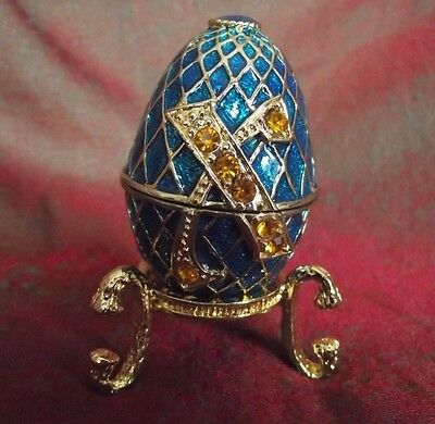 Decorative Egg Enamelled Hinged with Stand Atlas Collection Faberge Like Easter