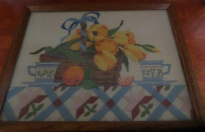 Complete Framed Crewel Embroidery of Flowers in a Basket on a Table with Teacups