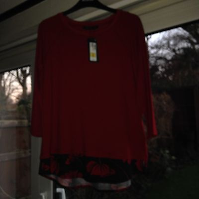 Ladies 3/4  Sleeve Top Red Size 16 Marks & Spencer