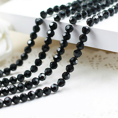 100PC 5000 6mm Multi Black Glass Round Faceted Loose Bead Jewelry 5000