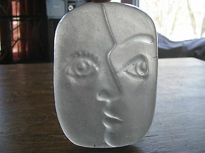 Vintage Abstract Glass Face, Kosta Boda style, Eric Hoglund style