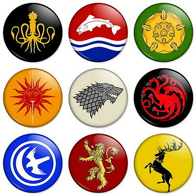 """GAME OF THRONES - HOUSE CRESTS SIGILS 25mm 1"""" Pin Badge Button Lannister Stark"""