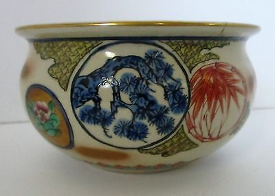 Antique Japanese Satsuma Pottery Bowl With Nice Detail Signed Hand Painted