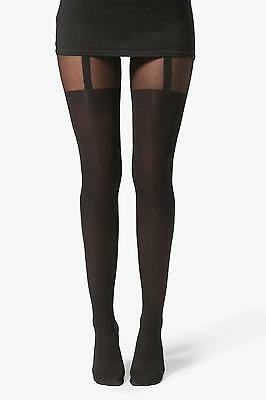 NEW Boohoo Womens Hannah Mock Suspender Tights in Black size One Size