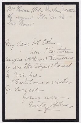 Victorian actress Amelia Smith (Ada Newton) Signed letter. Wyndham reference.