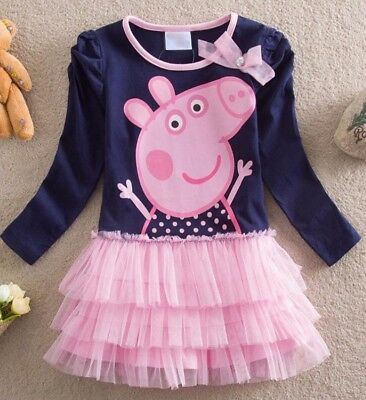 New Top Quality Girls Peppa George Pig Dress 100%cotton Best Fit 1 2 3 4 5 years
