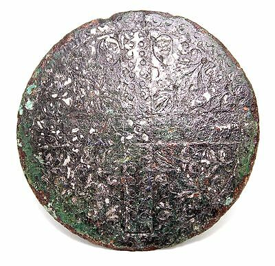Medieval bronze application with rich floral ornamentation and christ cross.v368