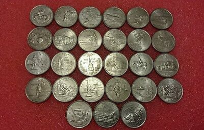 USA United States 27 different  design State Quarter coins 25 cents
