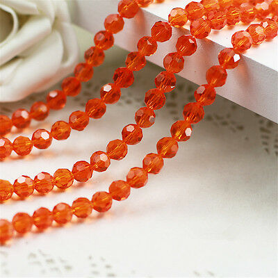 72PC 5000 8mm Red Orange  Crystal  Glass Round Faceted Loose Bead Jewelry 5000