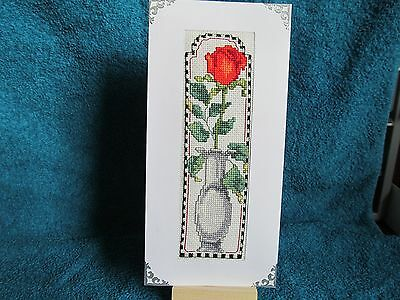 Completed cross stitch mothers day card/birthday - Single Red Rose
