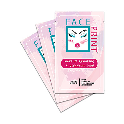 Face Print -New- Premium Makeup Removing Wipes Individual Packs - Special Price