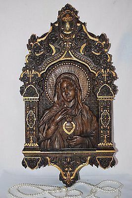 10X17INCH Immaculate Heart of Mary WOOD CARVED CHRISTIAN ICON RELIGIOUS ART WORK