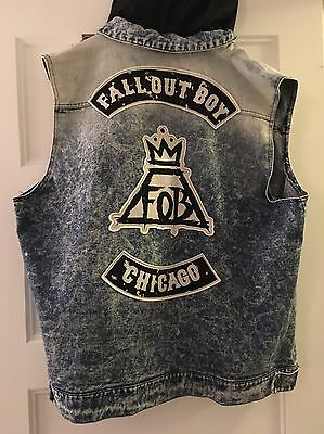 Fall Out Boy Denim Hooded Sleeveless Vest Men's XL Patches