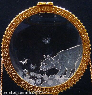 Crystal Trinket Box With Hand Engraved Optical Lens Cat & Butterflies No.1
