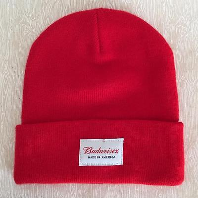 Budweiser Beer Made In America Red Beanie Cap