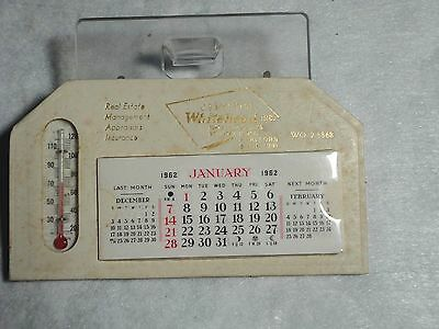 Vintage 1962 Advertising Thermometer Calendar Complete Whitehead Realty Rockford