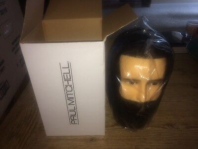 New In Box Paul Mitchell Styling Mannequin Head Male Human Hair - Cosmetology