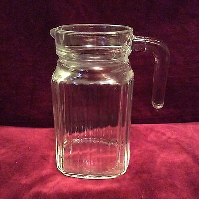 "Vintage refrigerator water juice pitcher with handle ribbed glass 6"" tall"