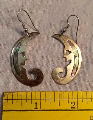 Vintage Alpaco Mexico Man On The Moon Earrings