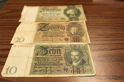 $10 $20 & $50 Reichsmark Notes All In Circulated Condition 1929 &1933