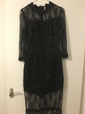 Brand New With Tags Topshop Black Lace Bodycon Long Sleeved Dress Size 6