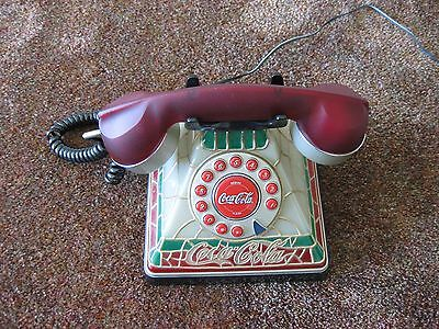 Coca Cola Tiffany Stained Glass Look Telephone Push Button Style Phone