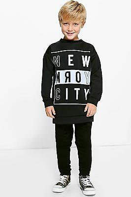 NEW Boohoo Mens Boys NYC Sweat Top in Multi size 9-10 Yrs