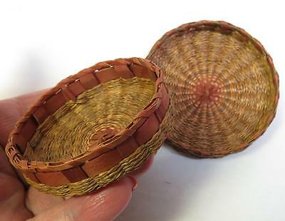 Vintage Miniature Sweetgrass & Red Splint Woven Lidded Basket - Pin/Needle Case?
