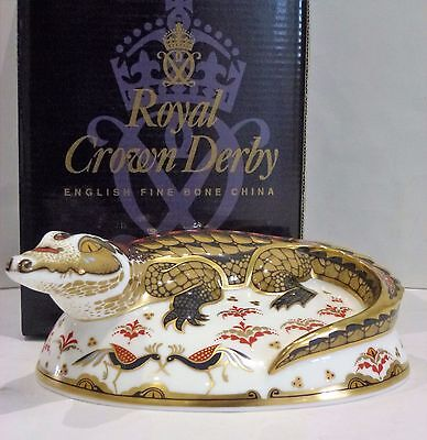 Royal Crown Derby Crocodile GOLD stopper. Boxed, Mint Condition never displayed.