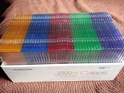 Memorex 50-pack Slim CD Jewel Case 5mm Assorted Colors New/Sealed Free Shipping!