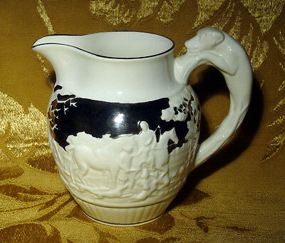 "Vintage Wedgwood White & Silver Pitcher 4 3/4"" Hunting Scene Dog Handle"
