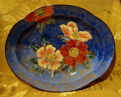Royal Doulton *wild Rose / Roses G* Oval Scalloped Serving Bowl D6227 England