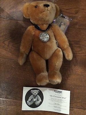 Merrythought Limited Edition Coronation Crown Bear, Real Coin, 221/1953