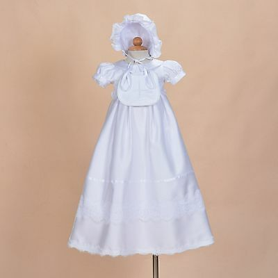 Baby Girls White Satin Christening Gown with Bib and Bonnet 0 3 6 9 12 Months
