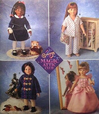 """Vtg Simplicity 8460 Sewing Pattern Magic Attic 18"""" Dolls American Girl Clothes"""
