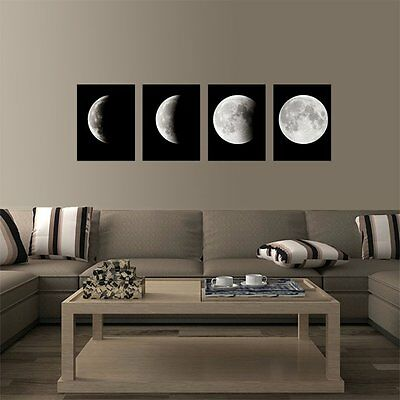 4 PCS Framed Poster Abstract The Moon Modern Art Print on Canvas Home Wall Decor